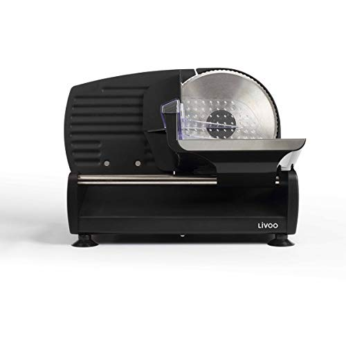 LIVOO Feel good moments - Affettatrice elettrica per prosciutto, pane, salsiccia, formaggio | Lama in acciaio inox Ø 19 cm | Taglio regolabile da 0 a 15 mm | 150W DOM396 Nero