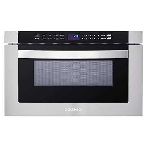 Cosmo COS-12MWDSS 24 in. Built-in Microwave Drawer with Automatic Presets, Touch Controls, Defrosting Rack and 1.2 cu. ft. Capacity in Stainless Steel