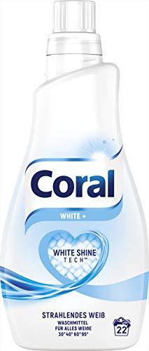 Coral Flüssigwaschmittel, für strahlendes Weiß White+ mit Faser-Schutz-Serum (1 x 22 WL)