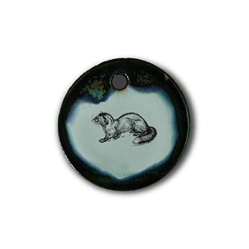 """Muy bonito colgante de cerámica """"marta"""" jaspeado en marrón-azul-verde;"""