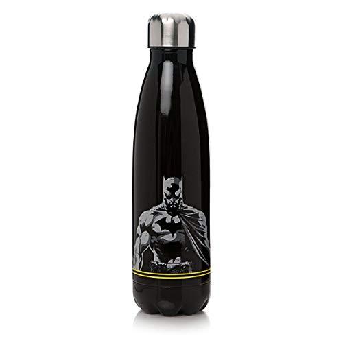 Batman DC Comics Trinkflasche Logo - schwarz, Bedruckt, aus Edelstahl, Fassungsvermögen ca. 500 ml.