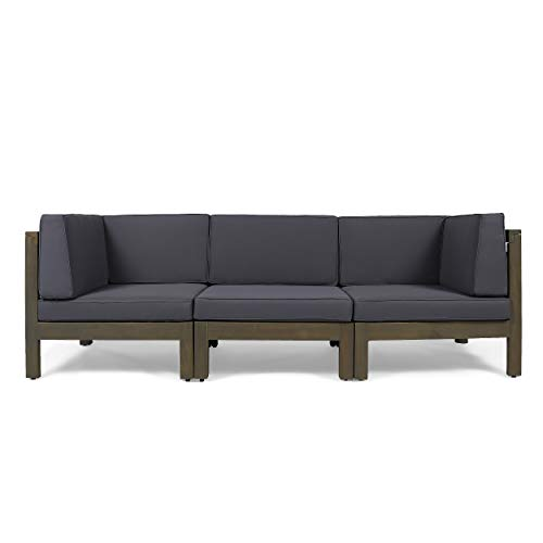 Great Deal Furniture Keith Outdoor Sectional Sofa Set   3-Seater   Acacia Wood   Water-Resistant Cushions   Gray and Dark Gray