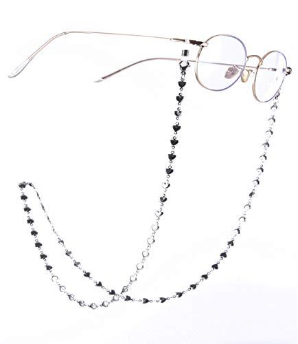 Cooltime Brillenhalter, Herz-Kettenhalter, Schwarz / Weiß, 76,2 cm