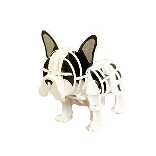 JIGZLE French Bulldog (Black/White) Paper 3D Puzzle - Laser Cut Miniature Animal Craft Kit for Kids and Adults - Birthday Gift and Party Favor for Puzzle and Origami Paper Craft Enthusiasts