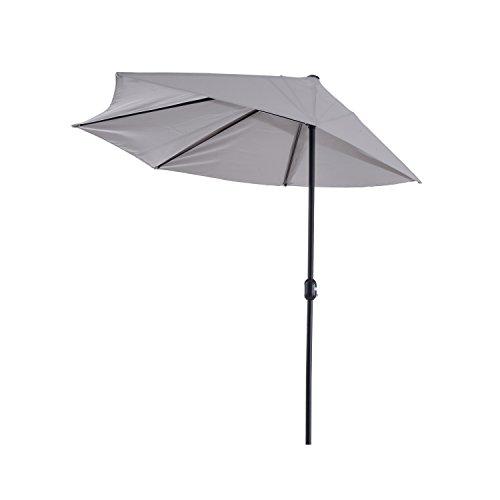 Outsunny Sonnenschirm Kurbelschirm Gartenschirm Schirm Marktschirm, Metall, halbrund, Grau+Schwarz
