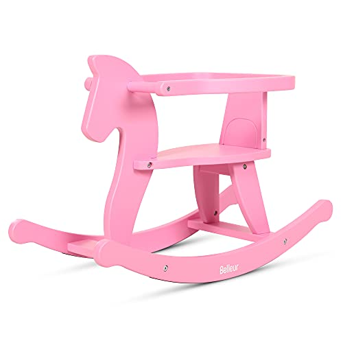Belleur Wooden Rocking Horse for Baby, Toddler Wood Ride-on Toys for 1-3 Year Old, Boys & Girls Birthday Rocking Animal for Indoor & Outdoor Activities - Pink
