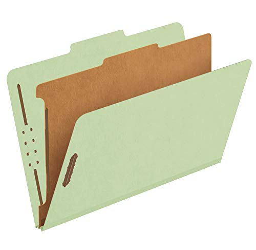 """Pendaflex Recycled Classification File Folders, 1 Divider, 2"""" Embedded Fasteners, 2/5 Tab Cut, Legal Size, Light Green, Box of 10 (28776R)"""