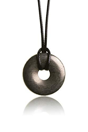 Raw & Noble Edelstein Anhänger aus echtem Naturstein: Pyrit | Kristall Kette mit Donut Anhänger inkl. edlem Kordband | Premium Heilstein/Glücksstein aus hochwertigen Mineralien