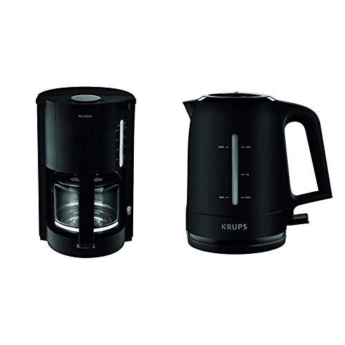 Krups F30908 Krups ProAroma Glas-Kaffeemaschine, 10 Tassen, 1.050 W im modernen Design, schwarz & BW2448 Wasserkocher Pro Aroma, 1,6 L, 2,400 W mit beleuchtetem Ein-/Ausschalter, schwarz
