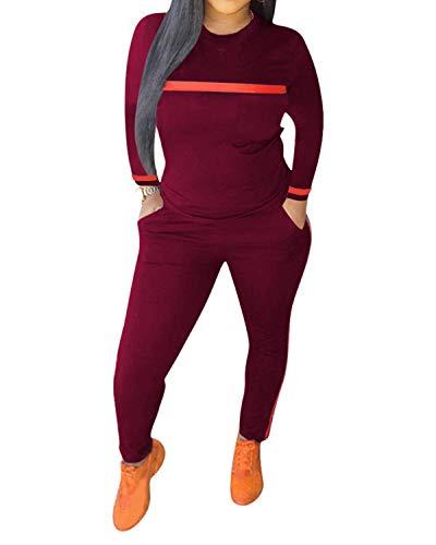 Top-Vigor 2-teiliges Sportanzug für Damen mit langen Ärmeln und langen figurbetonten Hosen - - X-Large