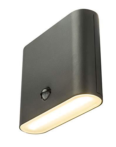 Wandlamp buiten aluminium LED buitenmuur lamp met bewegingsmelder antraciet (buitenlamp, sensor, bereik 8 meter, warm wit)