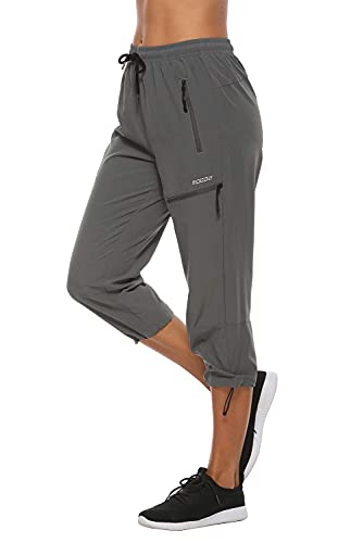MOCOLY Women's Hiking Capris Pants Outdoor Lightweight Quick Dry Water Resistant UPF 50 Cargo Pants with Zipper Pockets Grey L