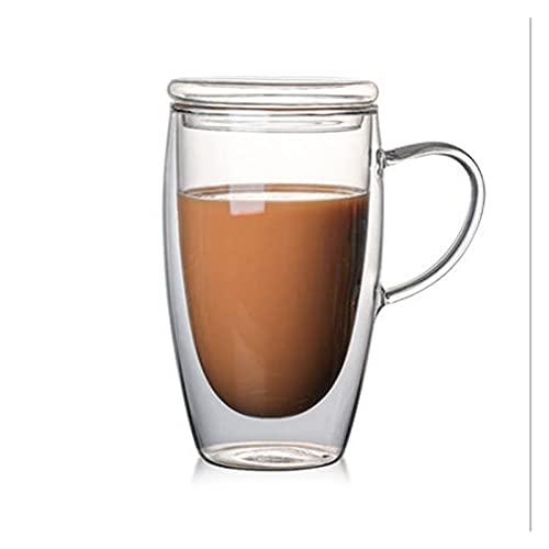 ZIS Vidrios con Aislamiento de Pared Doble Espresso Tazas de Cristal Transparente Grueso Resistente a Alta Temperatura (Color : with Lid 450ml)