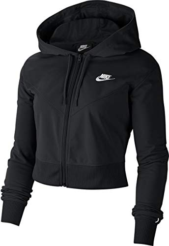 Nike W NSW HRTG Hoodie FZ PK Sweat-Shirt Femme, Black/White/(White), FR : L (Taille Fabricant : L)