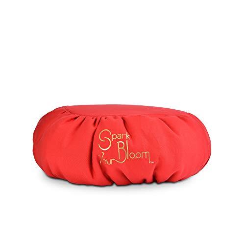 SparkYourBloom Cuscino per Meditazione Zafu di Alta qualità, con Sostegno per la Postura, Color Rosso, Lavabile in Lavatrice, 35 x 35 x 15 cm
