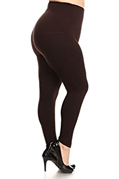 YELETE Legwear High Waist Compression Leggings with French Terry Lining Plus Size Coffee