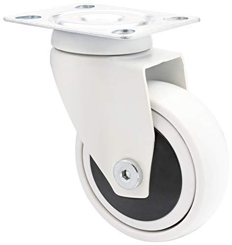 WAGNER Design - 3C - Lenkrolle/Apparaterolle/Möbelrolle - weiß, Softlauffläche, Durchmesser Ø 75 mm, Kugellager, Tragkraft 75 kg - 01227601