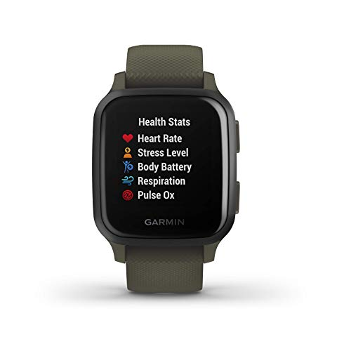 Garmin Venu Sq Music GPS Best Multisport Fitness Smartwatch Moss/Slate with Wearable4U Black Earbuds with Charging Power Bank Case Bundle