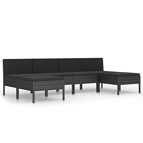 Tidyard Conjuntos Sofa Exterior Set de Muebles de jardín 6 pzas y Cojines ratán sintético Negro