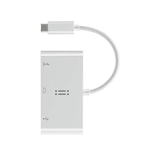 aiino USB C to VGA, USB 3.0, USB-C Data/Charging Adapter, Bianco
