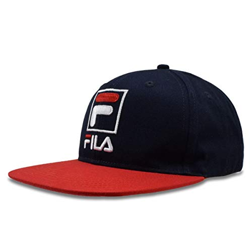 Fila Heritage Kids 6 Panel Flat Brim Cap with Snapback Navy/Chinese Red OS