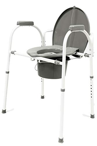 Avantia Ultra Comfort Portable Steel Commode Chair with Height Adjustable Settings, Convenient and Safer Toilet Alternative, Wide Ergonomic Seat and Padded Armrest