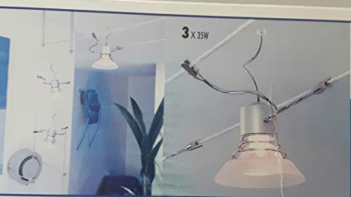 LED Seilsystem 3 oder 5 Strahler Spotleuche Schienensystem Spotlight Fassung GU5,3- LED 5Watt oder Halogen 35Watt (Dreiflammig mit Glasaufsatz)