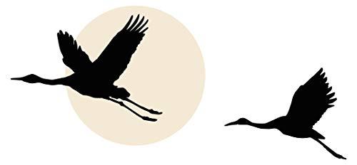 dekodino® Wandtattoo Asien Vögel fliegend vor Sonne Wanddekoration