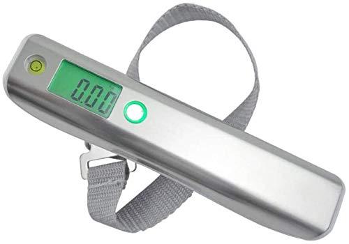 HSJ WYQ- Escala Digital de Acero Inoxidable Escala electrónica Escala de Primavera 50kg Escala de Equipaje con Cinta métrica con Nivel de Primavera portátil de Nivel Peso (Color : Silver+White)