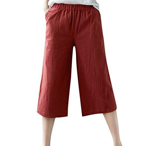 Amphia Damen Leinen Weite Hose Patchwark Yoga Hose Sommerhose - Frauen lose Haremshosen lässige Tasche Baumwolle Leinenhosen wadenlange Hose