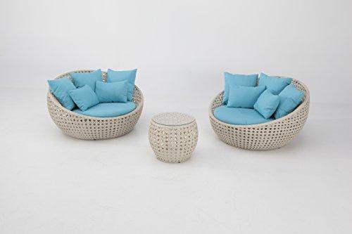 Almargarden Set lounge en rotin blanc cassé coussins bleu turquoise Swala