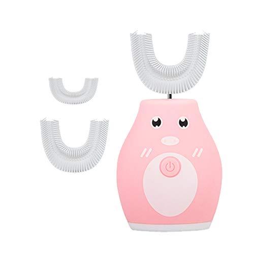 U-förmige Ultra Sonic elektrische Zahnbürste für Kinder, weicher Silikagel-Bürstenkopf, 2 Bürstenköpfe, Cartoon-Zahnbürste Kinder Kleinkinder mit Timer (Rosa)