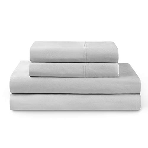 YNM Bamboo Sheet Set - Cozy, Cooling, and Eco-Friendly Bamboo Viscose Sheets Collection, 4-Piece Set Includes Flat Sheet, Fitted Sheet, and 2 Pillowcases - King, Light Grey