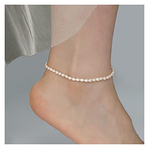 WWWL Fußkette Echte natürliche Süßwasserperle-Fußkettchen Mode Dame Elastizität Kette Fußkettchen Strand Fuß Armband Schmuck für Frauen (Color : 25cm Rice)