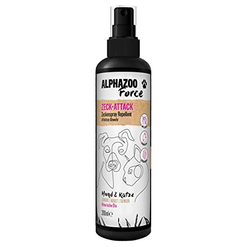 alphazoo ZeckAttack Zeckenspray für Hunde & Katzen 200 ml, Anti Zecken Spray, natürlicher Zeckenschutz für Hunde, Zeckenmittel gegen Flöhe, Parasiten, Insektenspray auf Basis ätherischer Öle