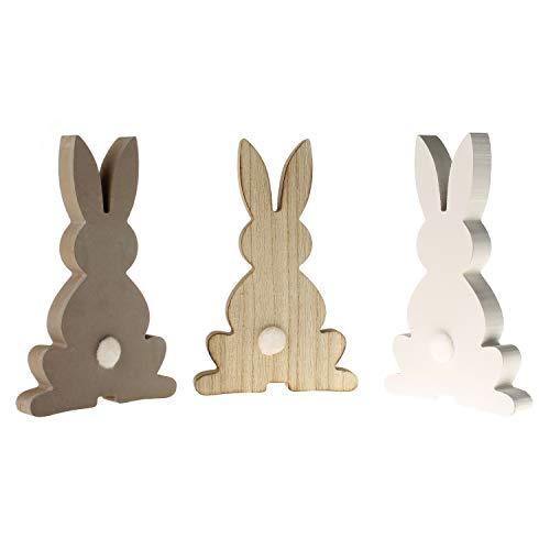 MACOSA CP73439 Juego de 3 Conejo de Pascua de Madera con Conejo de Pascua, decoración de Mesa de Pascua