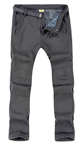 TBMPOY Men's Outdoor Windproof Waterproof Softshell Fleece Snow Pants(01 Thick Grey,us M)