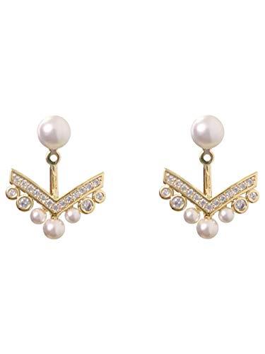 Ontwerp met oorbellen, aan de achterkant gemonteerde micro-ingelegde vol diamanten ankerhanger, vrouwelijke pareloorbellen