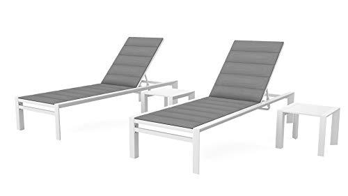 ARTELIA Amalfi L Aluminium Gartenliegen Set mit 2 Liegen und 2 Beistelltischen - Sonnenliege für Garten, Terrasse und Balkon, Relaxliege Weiß