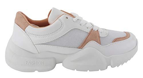 Ugly Sneakers, Deportivo Piso Ancho, Color Blanco y Rosa (39 EU, Rosa)