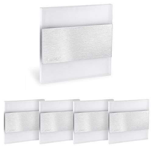 5er Set Stufenbeleuchtung LED 230V flach aus Glas & Edelstahl - indirekte Treppenbeleuchtung LED für Schalterdoseneinbau 60mm