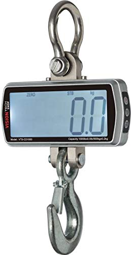 VisionTechShop Digital Crane Scale, VTS-CD 1000lb, 500kg Heavy Duty Compact Hanging Scale Touch Key LCD Display for Home Farm Factory