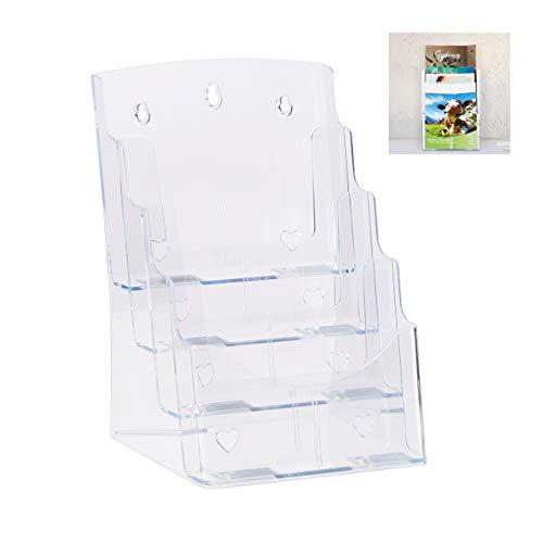 Relaxdays Prospekthalter A4 / DIN Lang, 4 Etagen, Acryl, Flyer Aufsteller Tisch & Wand, HBT: 35x24,5x24cm, transparent, 1 Stück