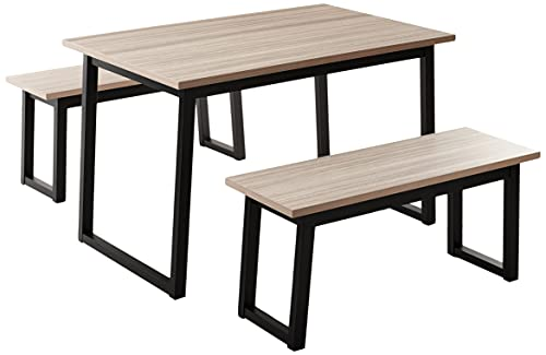 Signature Design by Ashley Waylowe 3-Piece Dining Set, Includes Table 2 Benches, Beige