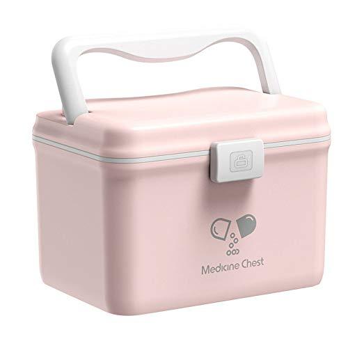 N\A Nordic Style Boîte De Médecine PP Boîte De Rangement étanche Boîte d'urgence pour Bureau à Domicile Portable Boîte De Premiers Soins HighCapacity Medicine Box,Pink