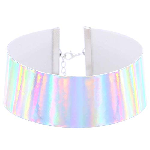 Jewelry, Charming Necklace for Women & Unique Holographic Choker Women Handmade Laser Rainbow Punk Gothic Necklace, Best Gift for Her,Colour:White (Color : White)