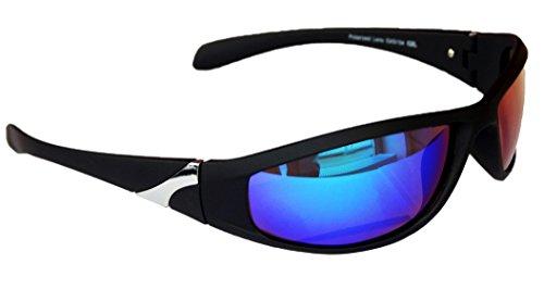 Gil SSC Sportbrille Sonnenbrille Schwarz verspiegelt Fahrradbrille Snowboardbrille Motorradbrille M 23 (Grün Blau verspiegelt)
