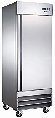 "Peak Cold Single Door Commercial Reach In Stainless Steel Freezer, White Interior; 23 Cubic Ft, 29"" Wide"