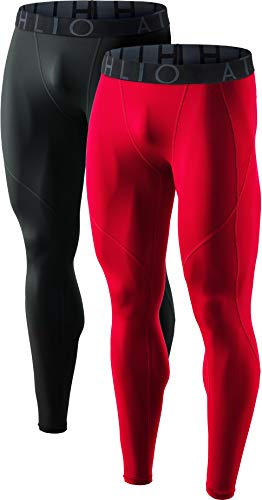 ATHLIO Mens Compression Pants Running Tights Workout Leggings, Cool Dry Technical Sports Baselayer, Active 2pack(blp05) - Black/Red, Medium