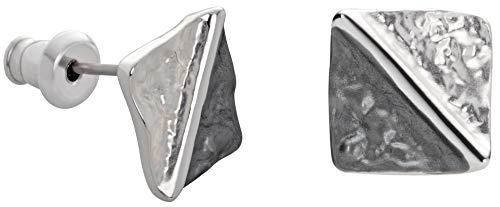 Perlkönig | Damen Frauen | Ohrringe Set | Ear Cuffs | Silber Anthrazit Farben | Dreiecke in Viereck | Bicolor | Stecker | Nickelabgabefrei